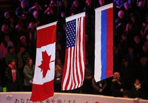 Mar 16, 2013; London, ON, Canada; The Canadian flag American flag and Russian flag are hoisted after Meryl Davis and Charlie White (USA) won gold the ice dance free program at the World Figure Skating Championships at Budweiser Gardens. Mandatory Credit: Tom Szczerbowski-USA TODAY Sports