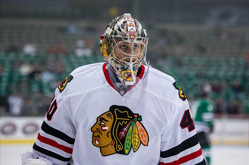 Dec 10, 2013; Dallas, TX, USA; Chicago Blackhawks goalie Kent Simpson (40) skates in warm-ups prior to the game against the Dallas Stars at the American Airlines Center. The Blackhawks defeated the Stars 6-2. Mandatory Credit: Jerome Miron-USA TODAY Sports