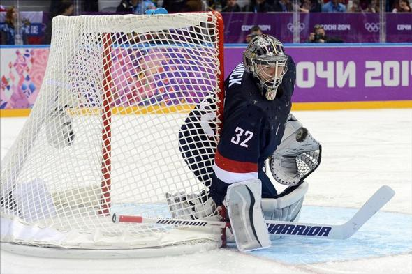 Olympics: Men's Ice Hockey - Team USA goalie Jonathan Quick