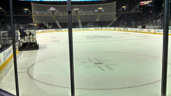The ice is cleaned in an empty Nationwide Arena.