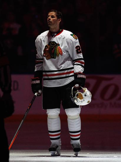 Mar 9, 2014; Buffalo, NY, USA; Chicago Blackhawks center Michal Handzus (26) before the game against the Buffalo Sabres at First Niagara Center. Mandatory Credit: Kevin Hoffman-USA TODAY Sports