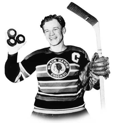 Bill Mosienko poses after scoring an NHL record 3 goals in 21 seconds (Photo courtesy of http://www.legendsofhockey.net/)