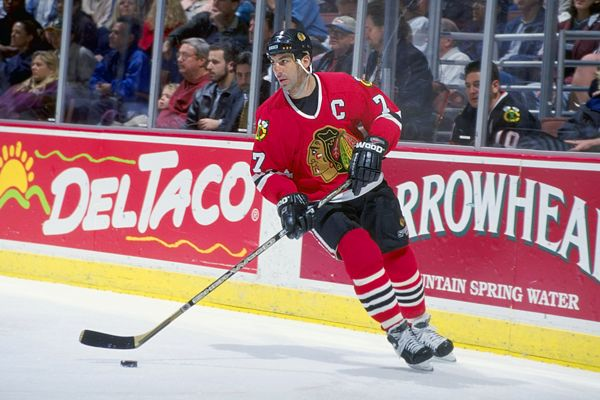Chicago Blackhawks Captain Chris Chelios (Photo courtesy of http://blackhawkslegends.blogspot.com/)