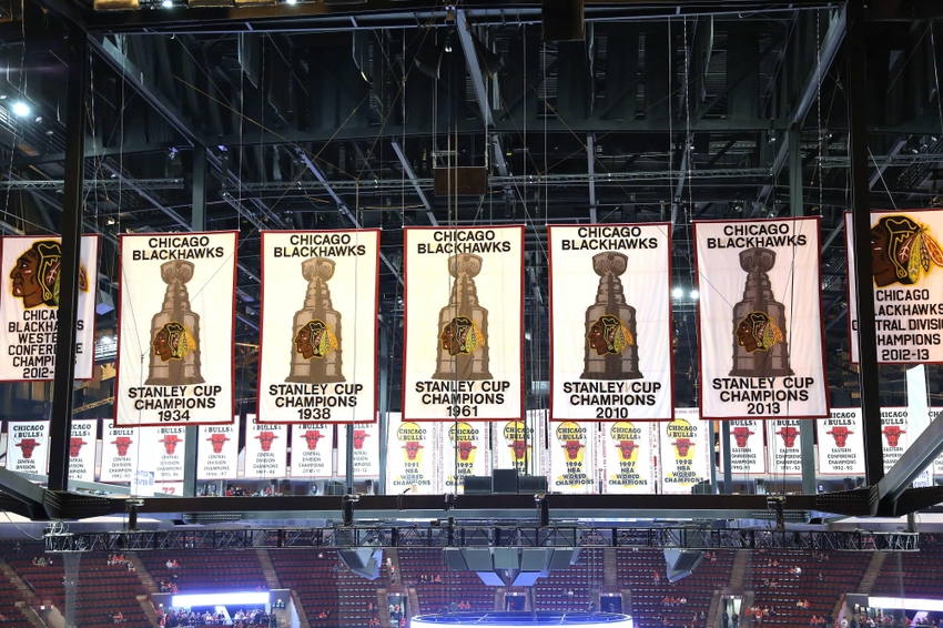 Oct 11, 2013; Chicago, IL, USA; A general shot of the Stanley Cup banners prior to a game between the Chicago Blackhawks and the New York Islanders at the United Center. Chicago won 3-2. Mandatory Credit: Dennis Wierzbicki-USA TODAY Sports