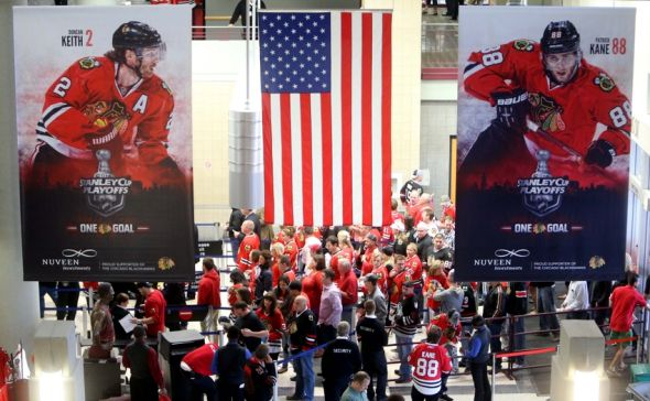 May 28, 2014; Chicago, IL, USA; A general view as fans arrive before game five of the Western Conference Final of the 2014 Stanley Cup Playoffs between the Chicago Blackhawks and Los Angeles Kings at United Center. Mandatory Credit: Jerry Lai-USA TODAY Sports