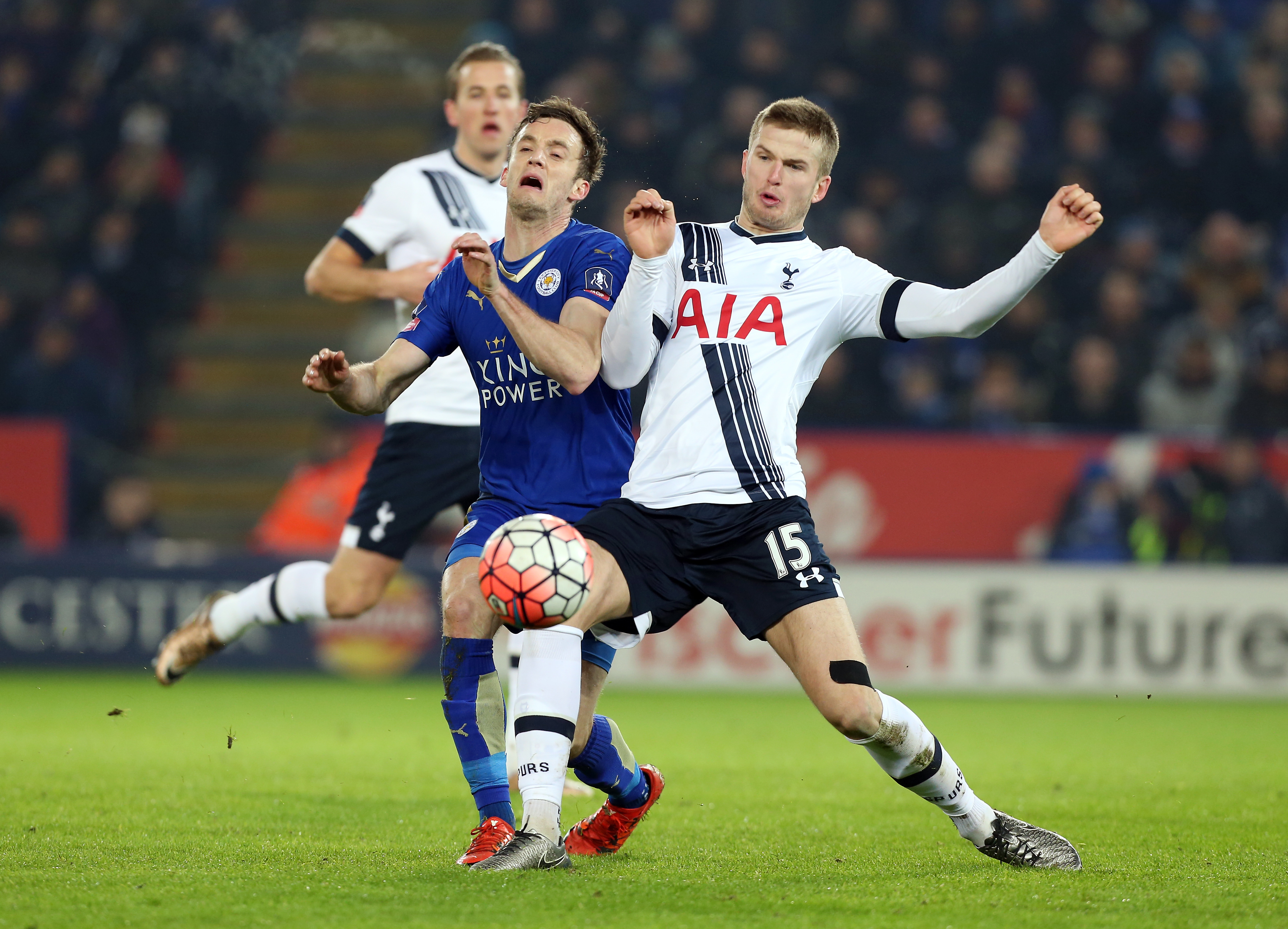 LEICESTER ENGLAND- JANUARY 20: Andy King of Leicester City in action with Eric Dier of Tottenham Hotspur during The Emirates FA Cup Third Round Replay match between Leicester City and Tottenham at the King Power Stadium on January 20, 2016 in Leiceste