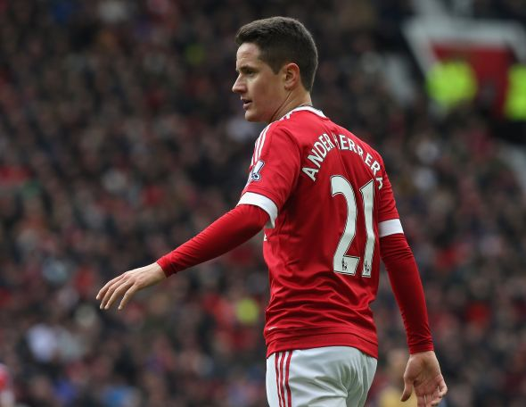 MANCHESTER, ENGLAND - FEBRUARY 28: Ander Herrera of Manchester United in action during the Barclays Premier League match between Manchester United and Arsenal at Old Trafford on February 28 2016 in Manchester, England. (Photo by Tom Purslow/Man Utd via Getty Images)