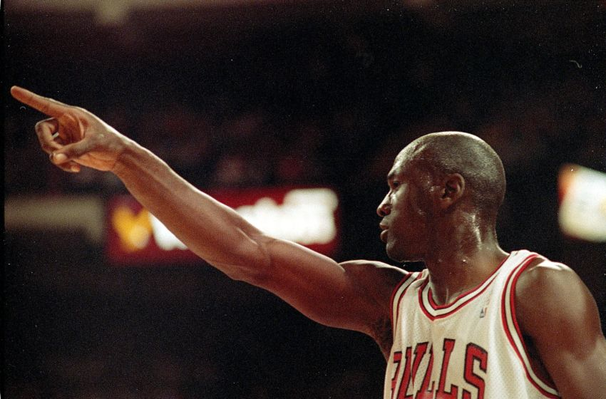 5 Jun 1991: A close up of Michael Jordan #23 of the Chicago Bulls as he points down the court during game two of the NBA Finals against the Los Angeles Lakers. The Bulls defeated the Lakers 107-86. Mandatory Credit: Jonathan Daniel /Allsport