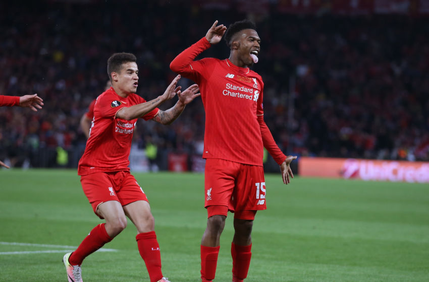 BASEL, SWITZERLAND - MAY 18: Daniel Sturridge (R) of Liverpool celebrates scoring his team's first goal with his team mate Philippe Coutinho (L) during the UEFA Europa League Final match between Liverpool and Sevilla at St. Jakob-Park on May 18, 2016 in Basel, Switzerland. (Photo by Lars Baron/Getty Images)