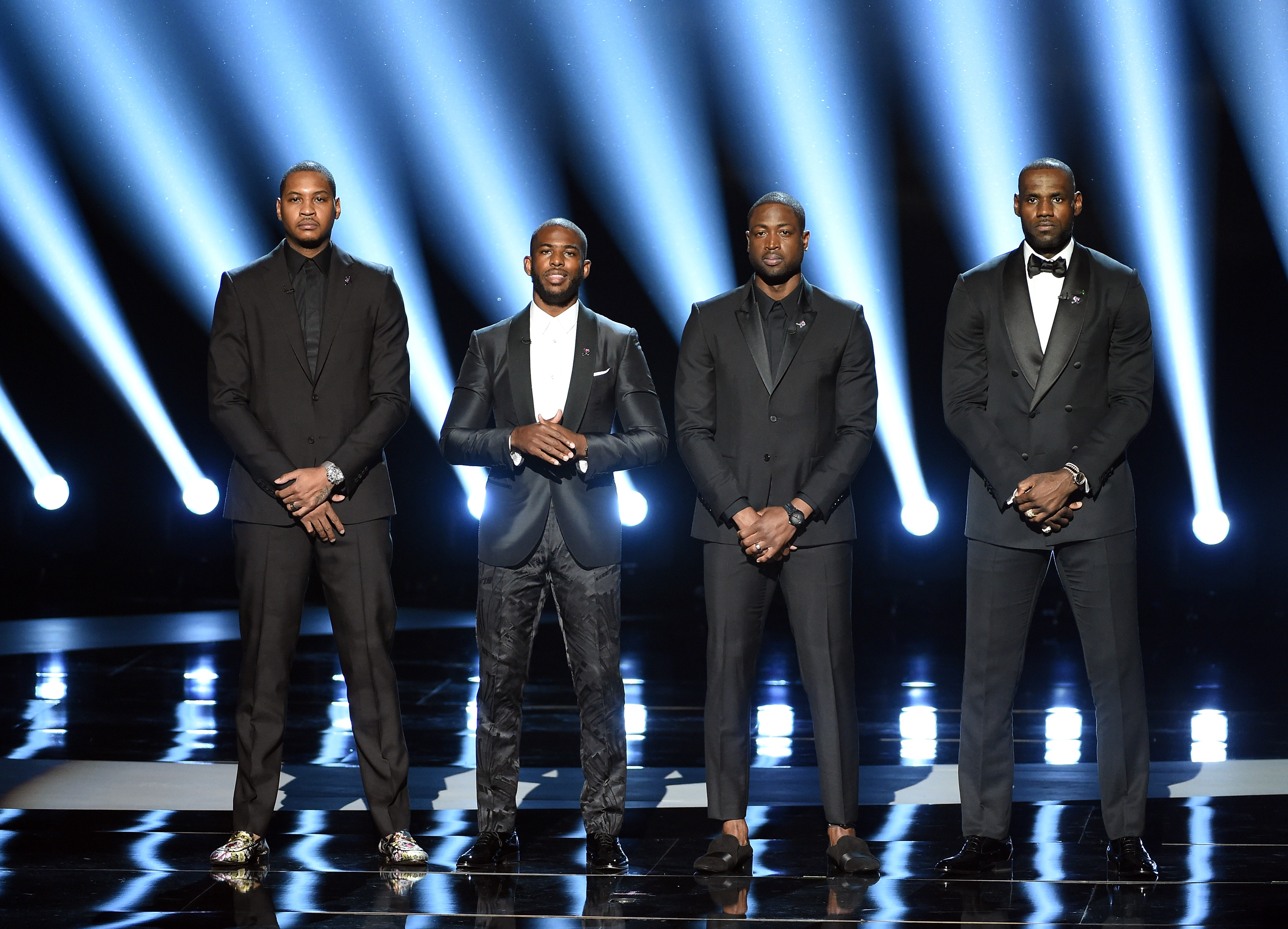 LOS ANGELES, CA - JULY 13: (L-R) NBA players Carmelo Anthony, Chris Paul, Dwyane Wade and LeBron James speak onstage during the 2016 ESPYS at Microsoft Theater on July 13, 2016 in Los Angeles, California. (Photo by Kevin Winter/Getty Images)