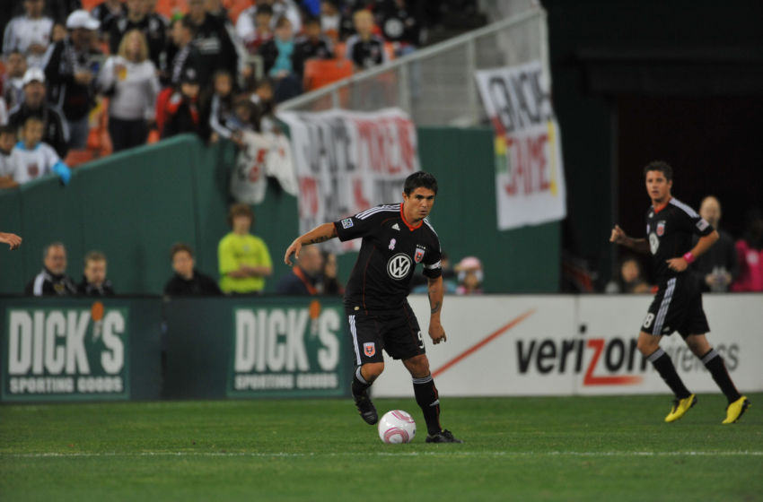 WASHINGTON, DC - OCTOBER 23: Jaime Moreno #99 of D.C. United dribbles the ball during the game against Toronto FC at RFK Stadium on October 23, 2010 in Washington, DC. Toronto defeated DC 3-2. (Photo by Larry French/Getty Images)