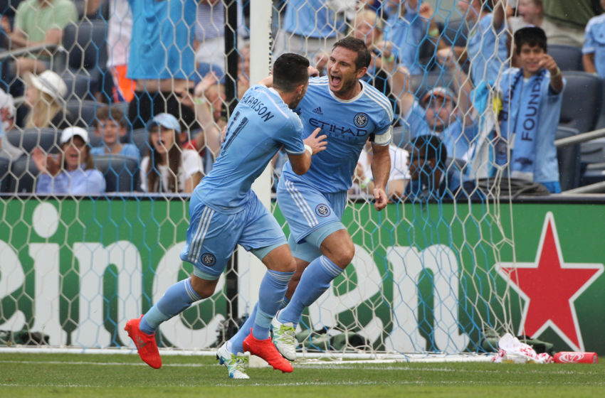 NEW YORK, NEW YORK - July 30: Frank Lampard #8 of New York City FC celebrates with team mate Jack Harrison #11 of New York City FC after scoring his sides first goal past Goalkeeper Tim Howard #1 of Colorado Rapids during the NYCFC Vs Colorado Rapids regular season MLS game at Yankee Stadium on July 30, 2016 in New York City. (Photo by Tim Clayton/Corbis via Getty Images)