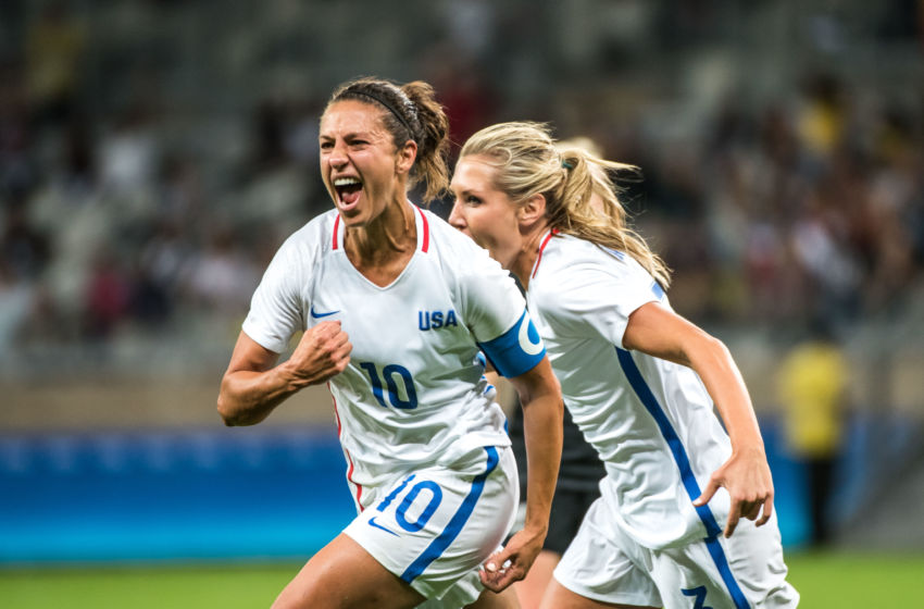 Lloyd l of the usa celebrates her goal during a rio 2016 olympic