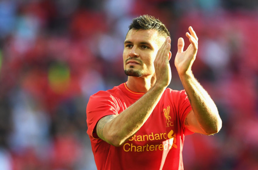 LONDON, ENGLAND - AUGUST 06: Dejan Lovren of Liverpool applauds supporters following the International Champions Cup match between Liverpool and Barcelona at Wembley Stadium on August 6, 2016 in London, England. (Photo by Michael Regan/Getty Images)