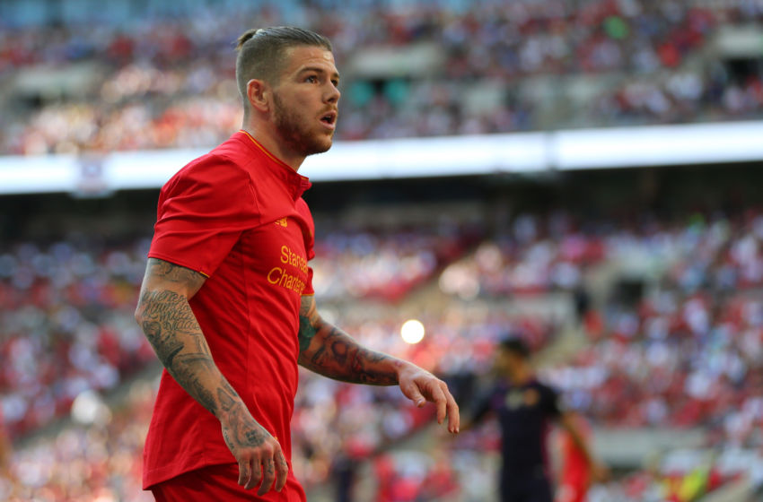 LONDON, ENGLAND - AUGUST 06: Alberto Moreno of Liverpool during the International Champions Cup 2016 match between Liverpool and Barcelona at Wembley Stadium on August 6, 2016 in London, England. (Photo by Catherine Ivill - AMA/Getty Images)