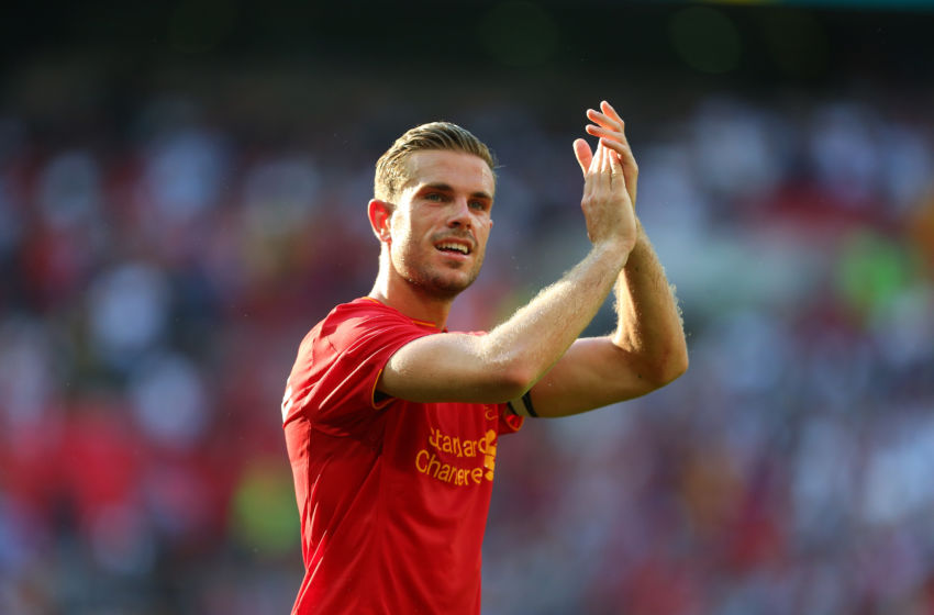 LONDON, ENGLAND - AUGUST 06: Jordan Henderson of Liverpool applauds after the International Champions Cup 2016 match between Liverpool and Barcelona at Wembley Stadium on August 6, 2016 in London, England. (Photo by Catherine Ivill - AMA/Getty Images)