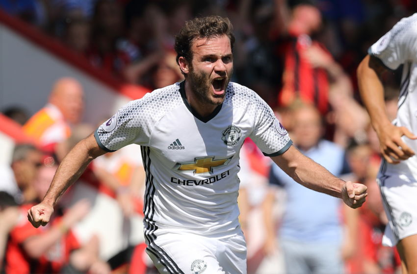 BOURNEMOUTH, ENGLAND - AUGUST 14: Juan Mata of Manchester Untied celebrates after scoring a goal to make it 0- 1 during the Premier League match between AFC Bournemouth and Manchester United at Vitality Stadium on August 14, 2016 in Bournemouth, England. (Photo by Matthew Ashton - AMA/Getty Images)
