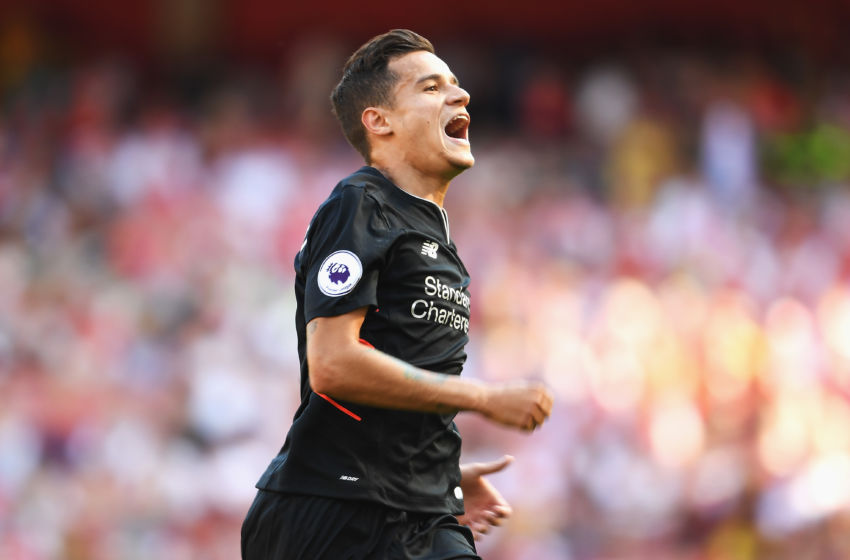 LONDON, ENGLAND - AUGUST 14: Philippe Coutinho of Liverpool celebrates scoring his free kick during the Premier League match between Arsenal and Liverpool at Emirates Stadium on August 14, 2016 in London, England. (Photo by Mike Hewitt/Getty Images)