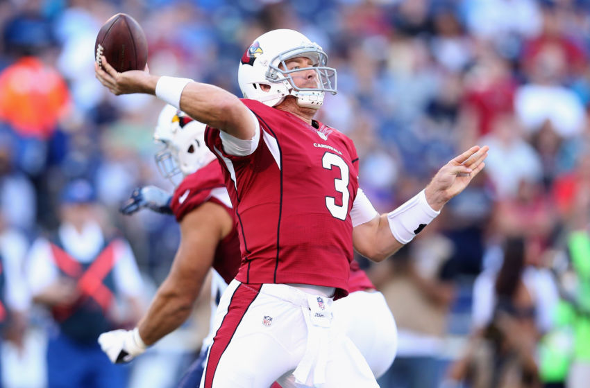 8361f971fea SAN DIEGO, CA – AUGUST 19: Quarterback Carson Palmer #3 of the Arizona  Cardinals throws a pass against the San Diego Chargers during preseason at  Qualcomm ...