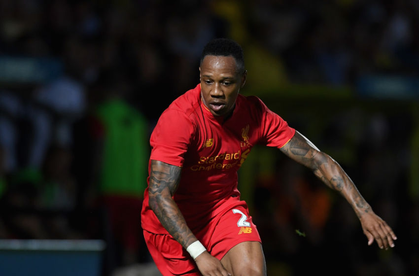 BURTON UPON TRENT, ENGLAND - AUGUST 23: Nathaniel Clyne of Liverpool during the EFL Cup match between Burton Albion and Liverpool at Pirelli Stadium on August 23, 2016 in Burton upon Trent, England. (Photo by Gareth Copley/Getty Images)