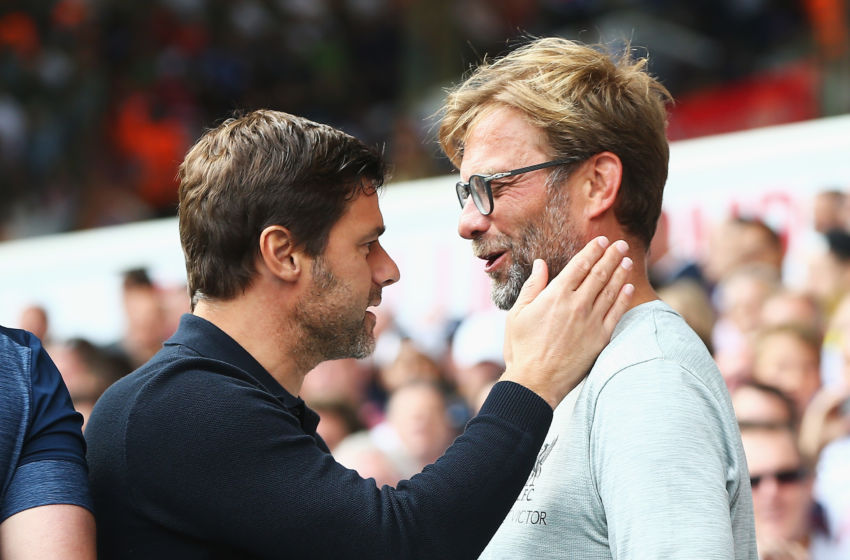 LONDON, ENGLAND - AUGUST 27: Mauricio Pochettino, Manager of Tottenham Hotspur (L) and Jurgen Klopp, Manager of Liverpool (R) embrace prior to kick off during the Premier League match between Tottenham Hotspur and Liverpool at White Hart Lane on August 27, 2016 in London, England. (Photo by Tottenham Hotspur FC/Tottenham Hotspur FC via Getty Images)