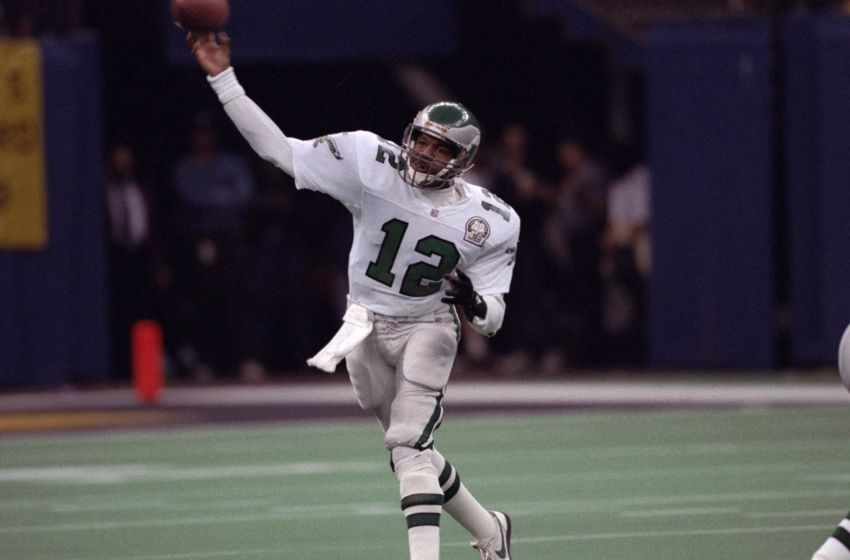 UNITED STATES - JANUARY 03: Football: NFC playoffs, Philadelphia Eagles QB Randall Cunningham (12) in action, making pass vs New Orleans Saints, New Orleans, LA 1/3/1993 (Photo by Richard Mackson/Sports Illustrated/Getty Images) (SetNumber: X43814)