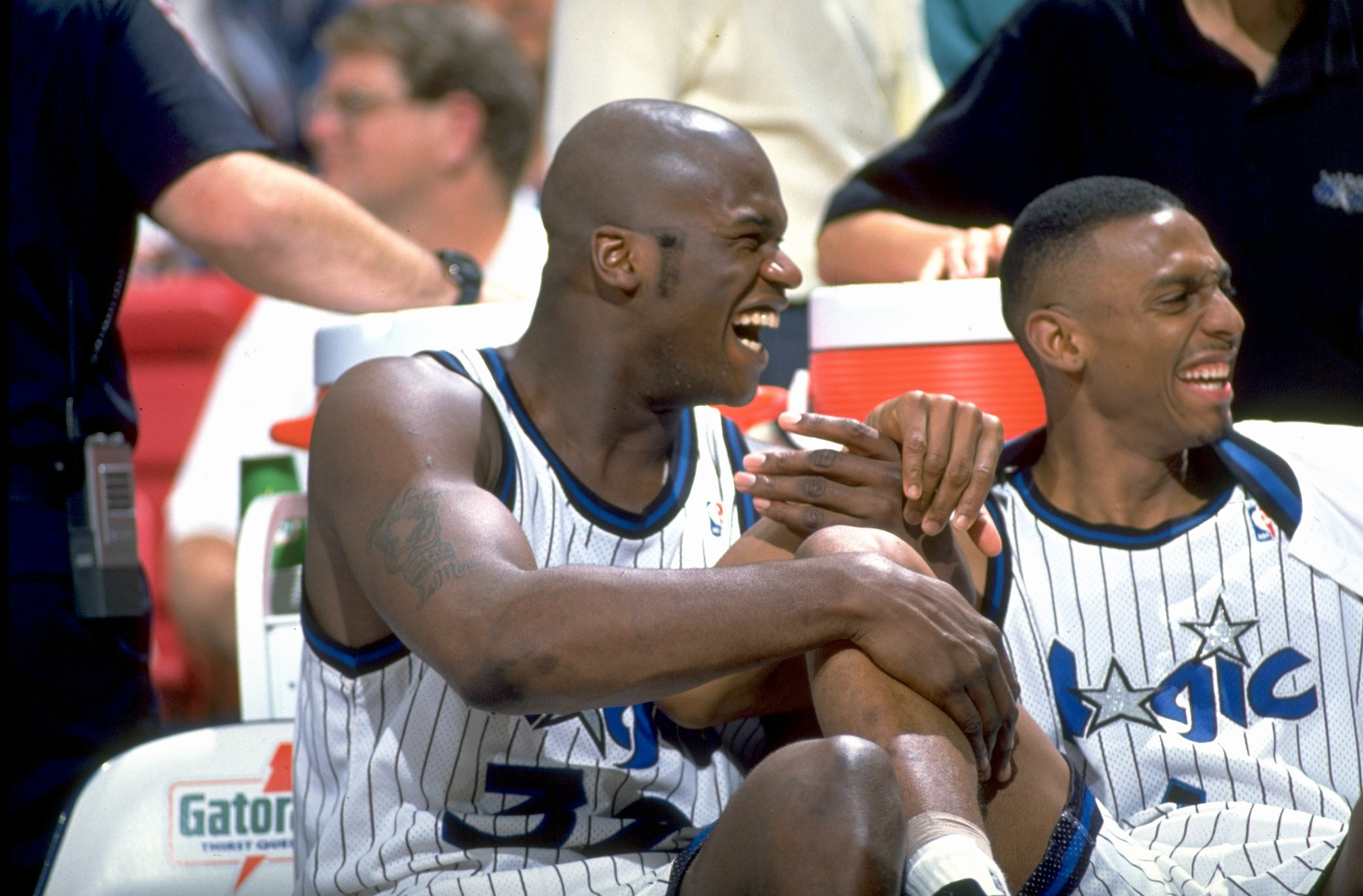 Basketball: Orlando Magic Shaquille O'Neal (L) and Anfernee Penny Hardaway (R) on bench during game vs Denver Nuggets at Orlando Arena. Orlando, FL 12/14/1994 CREDIT: Ben Van Hook (Photo by Ben Van Hook /Sports Illustrated/Getty Images) (Set Number: X47547 )
