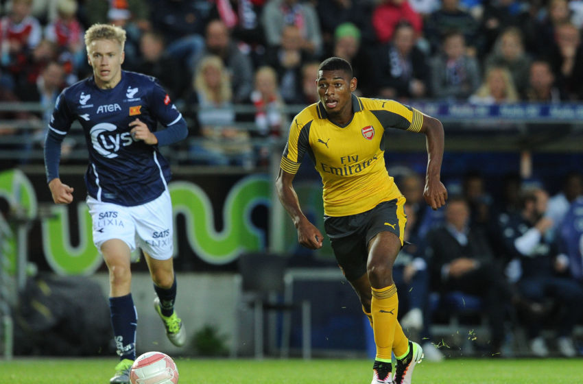 STAVANGER, NORWAY - AUGUST 05: Jeff Reine-Adelaide of Arsenal during the match between Viking FK and Arsenal at Viking Stadion on August 5, 2016 in Stavanger, Norway. (Photo by David Price/Arsenal FC via Getty Images)