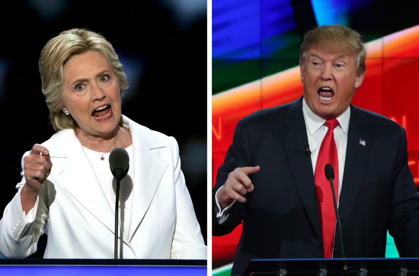 (FILE PHOTO)  ***LEFT IMAGE***   PHILADELPHIA, PA - JULY 28:  Democratic presidential candidate Hillary Clinton delivers remarks during the fourth day of the Democratic National Convention at the Wells Fargo Center, July 28, 2016 in Philadelphia, Pennsylvania.  (Photo by Alex Wong/Getty Images)  ***RIGHT IMAGE***  LAS VEGAS, NV - DECEMBER 15:  Republican presidential candidate Donald Trump during the CNN Republican presidential debate on December 15, 2015 in Las Vegas, Nevada. (Photo by Justin Sullivan/Getty Images)