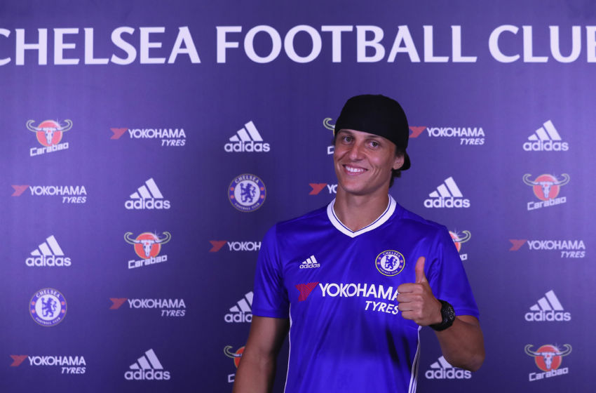 COBHAM, ENGLAND - AUGUST 31: David Luiz is unveiled as Chelsea's new signing at Chelsea Training Ground on August 31, 2016 in Cobham, England. (Photo by Chelsea Football Club/Chelsea FC via Getty Images)