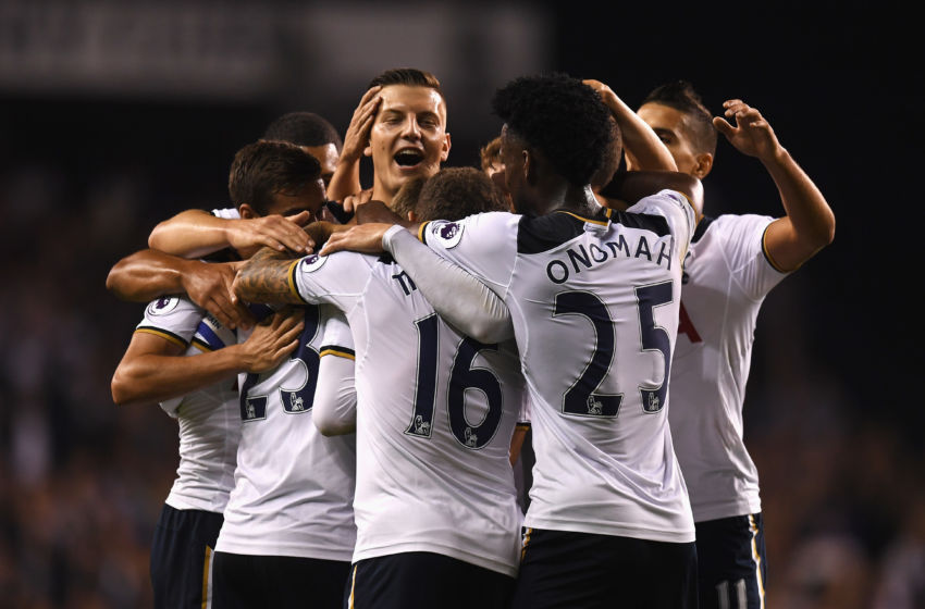 LONDON, ENGLAND - SEPTEMBER 21: Christian Eriksen of Tottenham Hotspur celebrates scoring his sides first goal with team mates during the EFL Cup Third Round match between Tottenham Hotspur and Gillingham at White Hart Lane on September 21, 2016 in London, England. (Photo by Mike Hewitt/Getty Images)