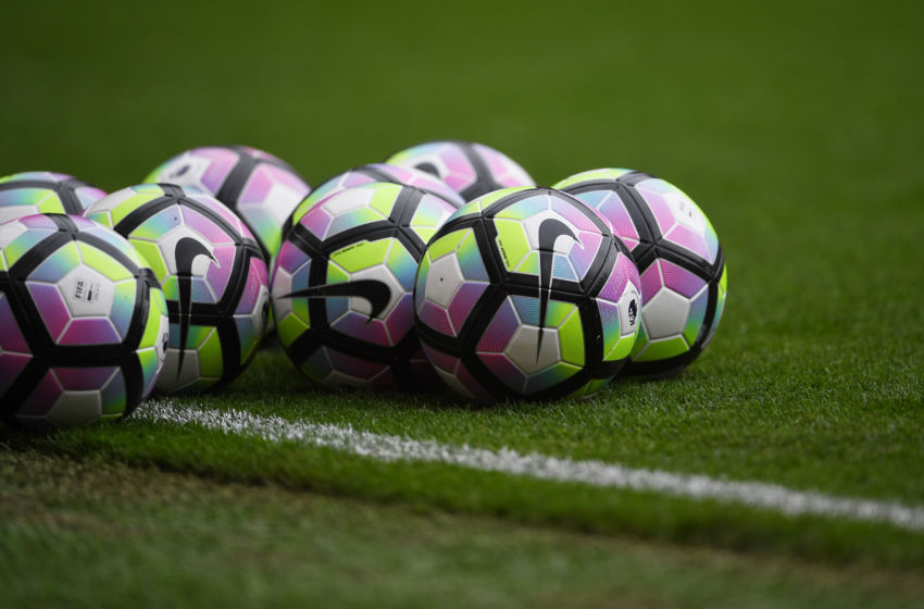 MANCHESTER, ENGLAND - SEPTEMBER 24: Preimer leauge balls on the pitch prior to kick off during the Premier League match between Manchester United and Leicester City at Old Trafford on September 24, 2016 in Manchester, England. (Photo by Laurence Griffiths/Getty Images)