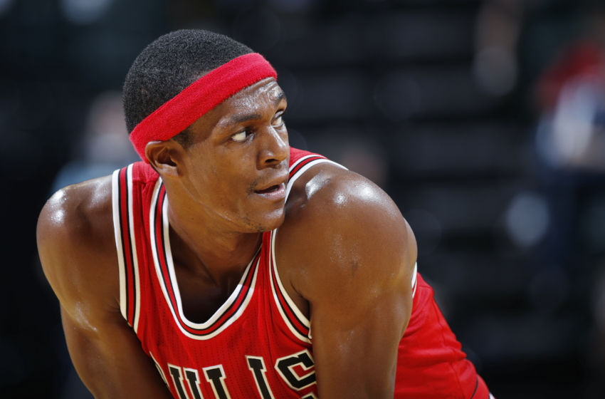 INDIANAPOLIS, IN - OCTOBER 06: Rajon Rondo #9 of the Chicago Bulls looks on against the Indiana Pacers during a preseason game at Bankers Life Fieldhouse on October 6, 2016 in Indianapolis, Indiana. The Pacers defeated the Bulls 115-108.(Photo by Joe Robbins/Getty Images)