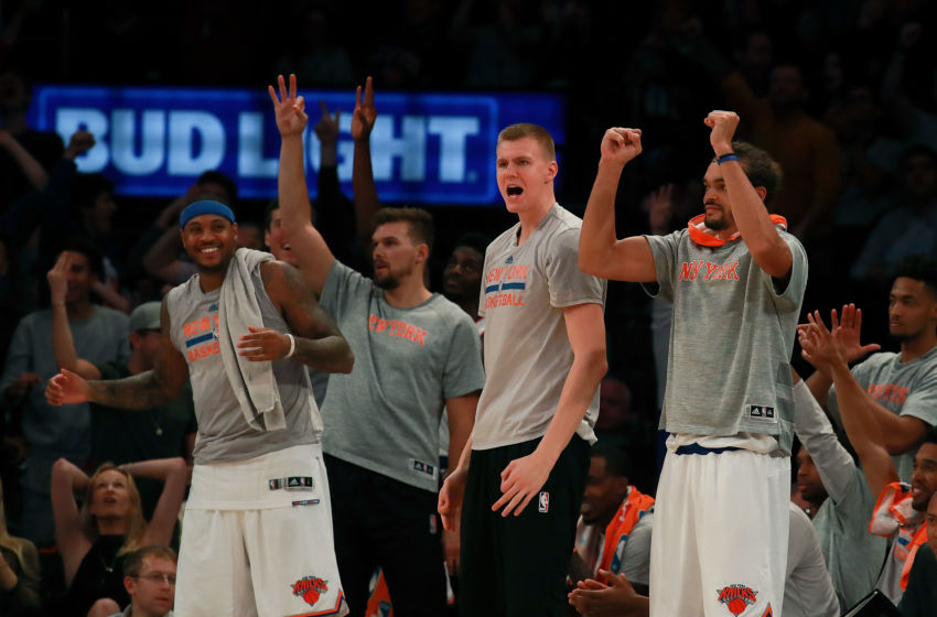 NEW YORK, NY - OCTOBER 15: The New York Knicks bench reacts after a basket against the Boston Celtics during the second half of their preseason game at Madison Square Garden on October 15, 2016 in New York City. NOTE TO USER: User expressly acknowledges and agrees that, by downloading and or using this photograph, User is consenting to the terms and conditions of the Getty Images License Agreement. (Photo by Michael Reaves/Getty Images)