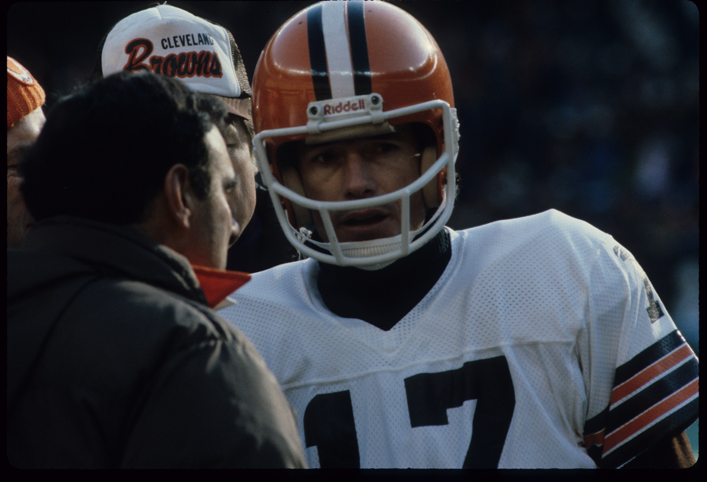 Cleveland Browns quarterback Brian Sipe (17) consults with head coach Sam Rutigliano during a 27-24 victory over the Cincinnati Bengals on December 21, 1980, at Riverfront Stadium in Cincinnati, Ohio. (Photo by Dennis Collins/Getty Images)