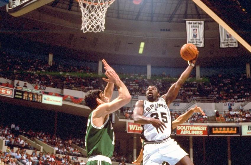43032f28c Basketball  San Antonio Spurs Antoine Carr (35) in action vs Boston Celtics  at HemisFair Arena. San Antonio