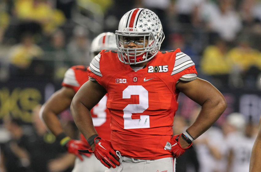 January 12, 2015: Ohio State Buckeyes cornerback Marshon Lattimore (#2) during the Ohio State Buckeyes game versus the Oregon Ducks in the College Football Playoff National Championship at AT&T Stadium in Arlington, TX. Ohio State won the game 42-20. (Photo by Matthew Visinsky/Icon Sportswire/Corbis via Getty Images)
