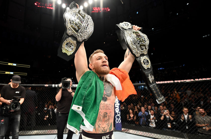 McGregor (TX) United States  city images : celebrates his KO victory over Eddie Alvarez of the United States ...