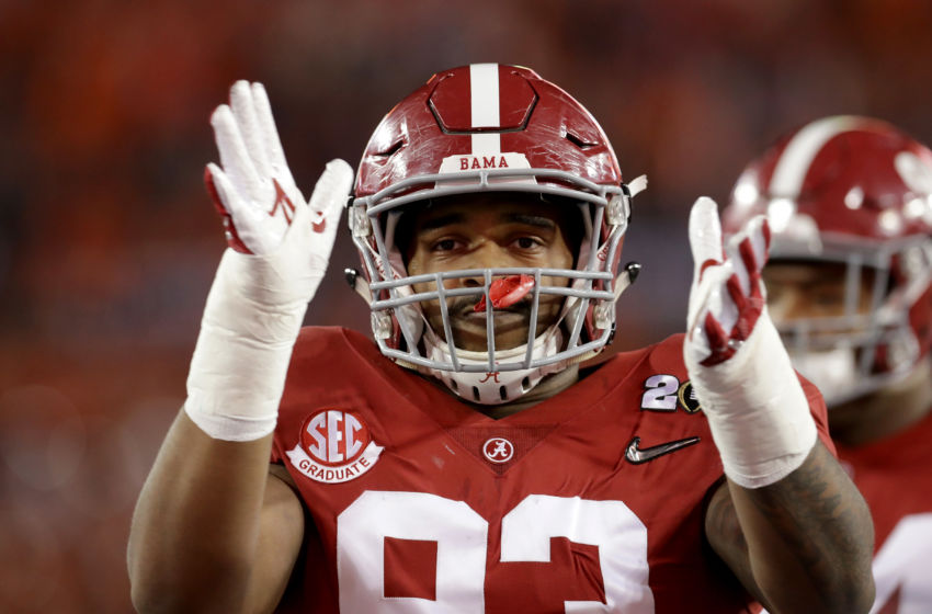 TAMPA, FL - JANUARY 09: Defensive lineman Jonathan Allen #93 of the Alabama Crimson Tide looks on before taking on the Clemson Tigers in the 2017 College Football Playoff National Championship Game at Raymond James Stadium on January 9, 2017 in Tampa, Florida. (Photo by Ronald Martinez/Getty Images)