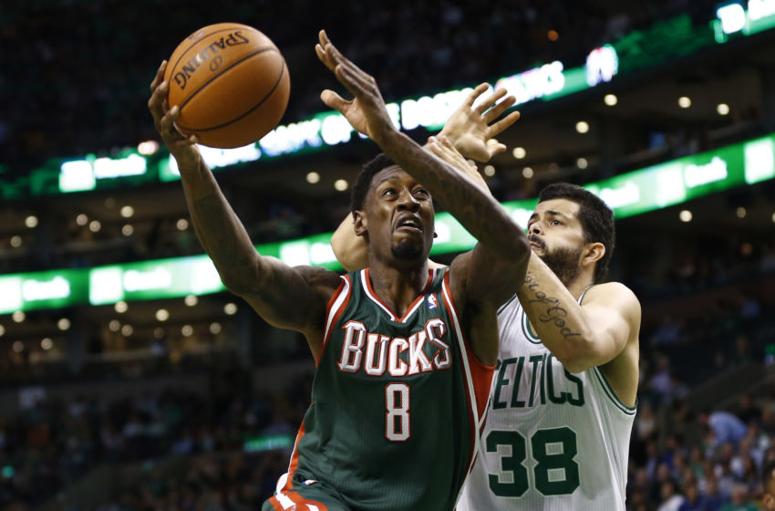 Nov 1, 2013; Boston, MA, USA; Milwaukee Bucks center Larry Sanders (8) shoots the ball against Boston Celtics center Vitor Faverani (38) during the first half at TD Garden. Mandatory Credit: Mark L. Baer-USA TODAY Sports