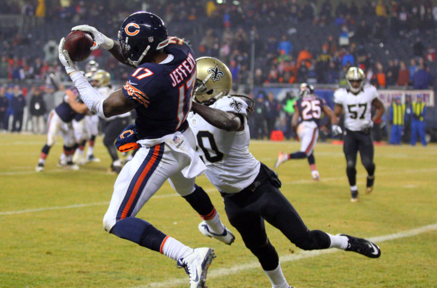 Dec 15, 2014; Chicago, IL, USA; Chicago Bears wide receiver Alshon Jeffery (17) catches a touchdown pass over New Orleans Saints defensive back A.J. Davis (20) during the second half at Soldier Field. New Orleans won 31-15. Mandatory Credit: Dennis Wierzbicki-USA TODAY Sports