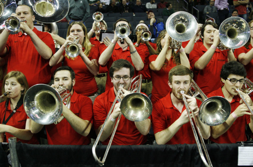 Mar 20, 2015; Charlotte, NC, USA; The Georgia Bulldogs band performs before the game against the Michigan State Spartans in the second round of the 2015 NCAA Tournament at Time Warner Cable Arena. Mandatory Credit: Jeremy Brevard-USA TODAY Sports