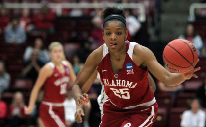 Mar 23, 2015; Stanford, CA, USA; Oklahoma guard Gioya Carter (25) runs the fast break ahead of Stanford forward Kaylee Johnson (5) in the first half of their game in the second round of the women's NCAA Tournament at Maples Pavilion. Mandatory Credit: Lance Iversen-USA TODAY Sports
