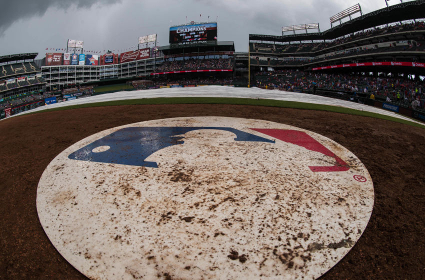 Jun 13, 2015; Arlington, TX, USA; A view of the MLB logo during a rain delay in the game between the Texas Rangers and the Minnesota Twins at Globe Life Park in Arlington. Mandatory Credit: Jerome Miron-USA TODAY Sports