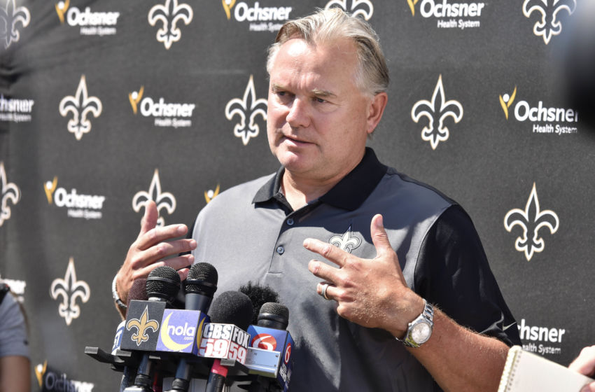 Aug 3, 2015; White Sulphur Springs, WV, USA; Former New Orleans Saints kicker Morten Anderson answers questions from the media following a day of training camp at The Greenbrier. Anderson is one of the first inductees into the Saints' ring of honor. Mandatory Credit: Michael Shroyer-USA TODAY Sports