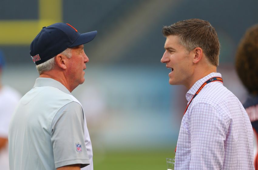 Aug 13, 2015; Chicago, IL, USA; Chicago Bears head coach John Fox (left) talks with general manager Ryan Pace (right) prior to a preseason NFL football game against the Miami Dolphins at Soldier Field. Mandatory Credit: Dennis Wierzbicki-USA TODAY Sports