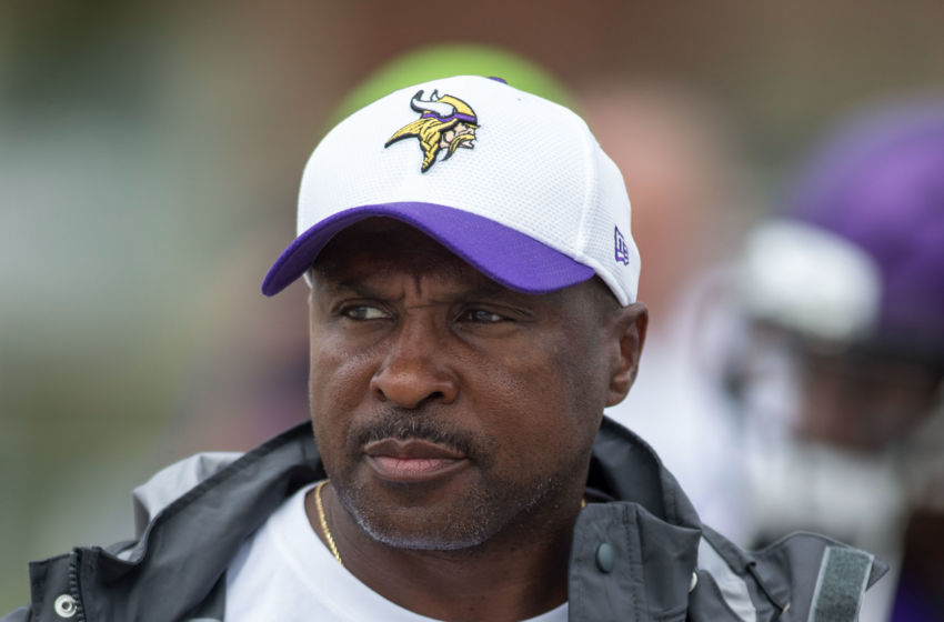 Jul 27, 2015; Mankato, MN, USA; Minnesota Vikings running backs coach Kirby Wilson walks to drills at training camp at Minnesota State University. Mandatory Credit: Bruce Kluckhohn-USA TODAY Sports