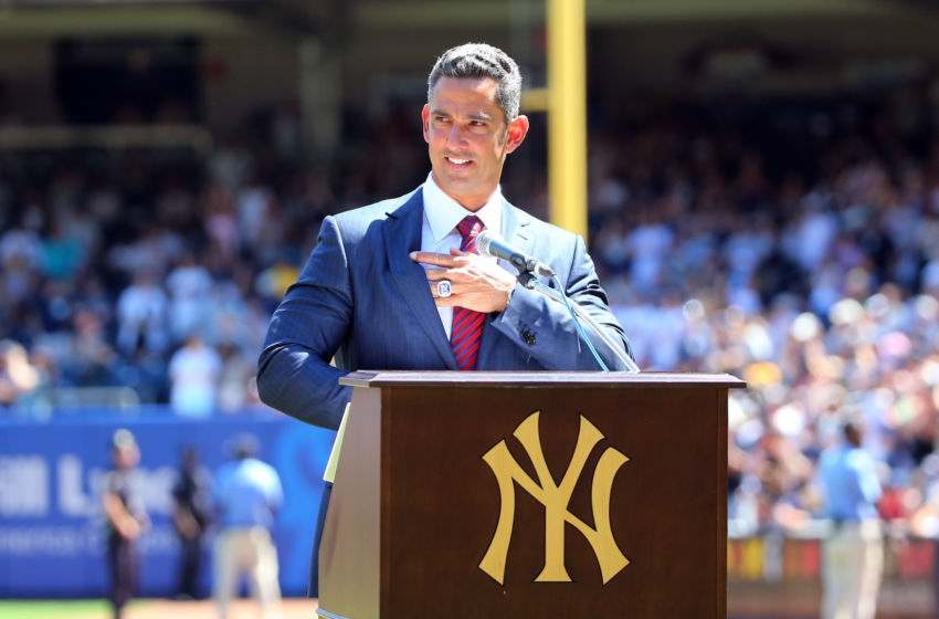 Aug 22, 2015; Bronx, NY, USA; New York Yankees former catcher Jorge Posada address the crowd during a ceremony for the retirement of his number before the game against the Cleveland Indians at Yankee Stadium. Mandatory Credit: Anthony Gruppuso-USA TODAY Sports