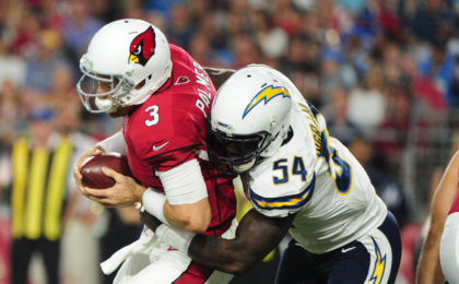 Aug 22, 2015; Glendale, AZ, USA; Arizona Cardinals quarterback Carson Palmer (3) is sacked by San Diego Chargers outside linebacker Melvin Ingram (54) during the first half at University of Phoenix Stadium. Mandatory Credit: Matt Kartozian-USA TODAY Sports