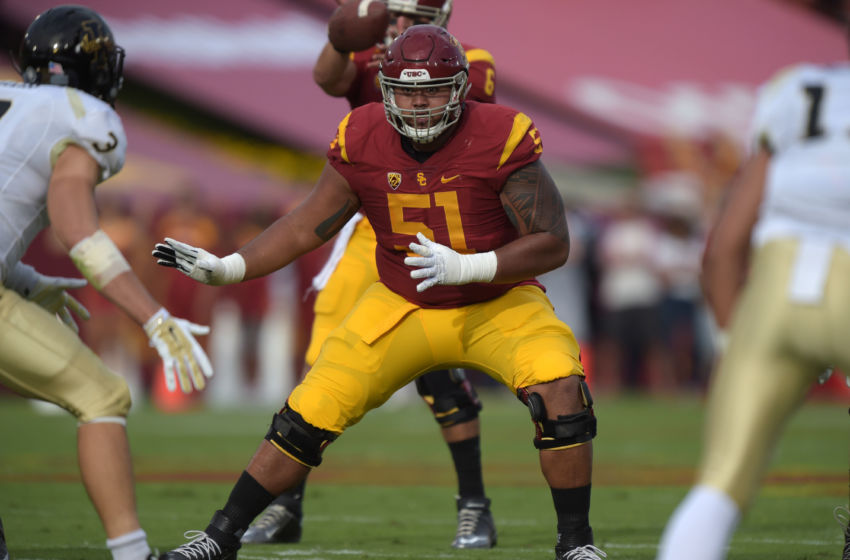 Sep 12, 2015; Los Angeles, CA, USA; Southern California Trojans left guard Damien Mama (51) during the game against the Idaho Vandals at Los Angeles Memorial Coliseum. Mandatory Credit: Kirby Lee-USA TODAY Sports